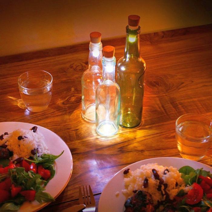 led leuchte glasflaschen romantische tischbeleuchtung