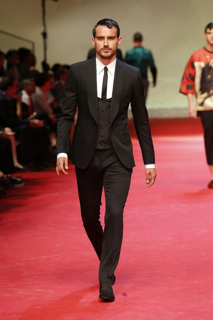 männermode 2015 dolce gabbana schwarzer anzug spanisches design