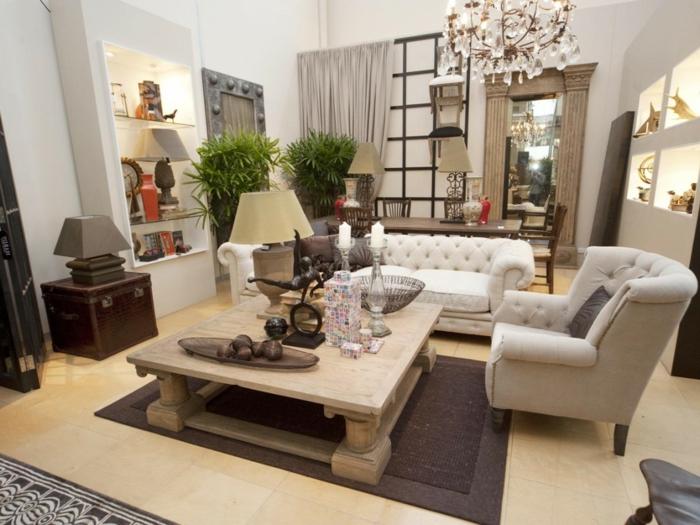 möbel landhausstil cooler holztisch elegante sofas