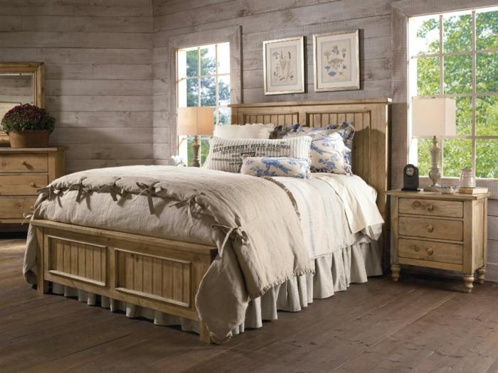 möbel landhausstil holzboden schlafzimmer einrichten