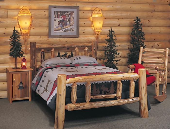 Möbel Landhausstil Schlafzimmer Holzbett Holzwand Schöne Wanddeko