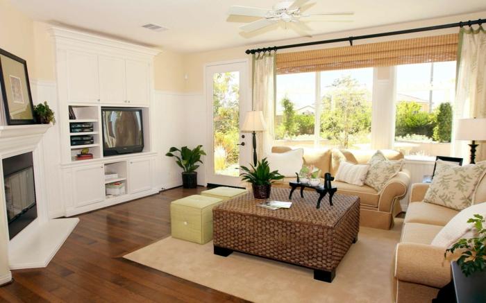 möbel landhausstil wohnzimmer gestalten couchtisch rattan pflanzen