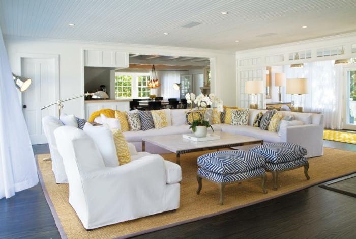 möbel landhausstil wohnzimmermöbel sisalteppich luftige gardinen