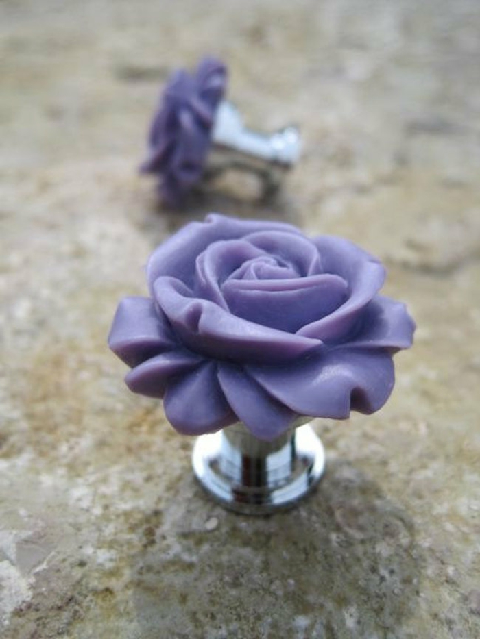 möbelknöpfe aluminium plastik lila rosen