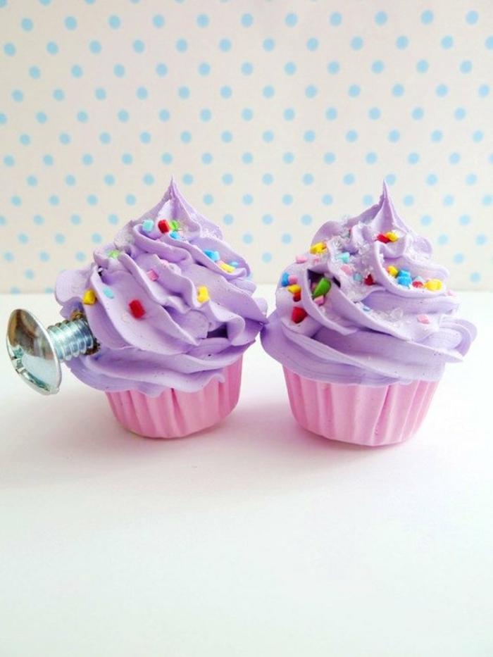 möbelknöpfe cupcakes kunststoff lila sahen zuckerstreusel