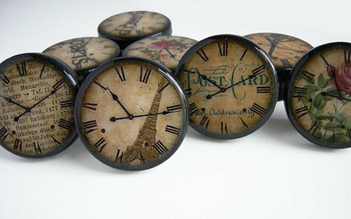 möbelknöpfe rund holz antike wanduhr design