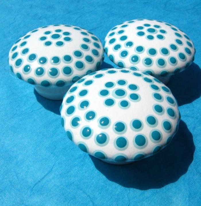 möbelknöpfe rund holzmaterial getupft weiß-blau sweet mix creations