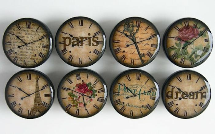 möbelknauf wanduhr design paris holz antik
