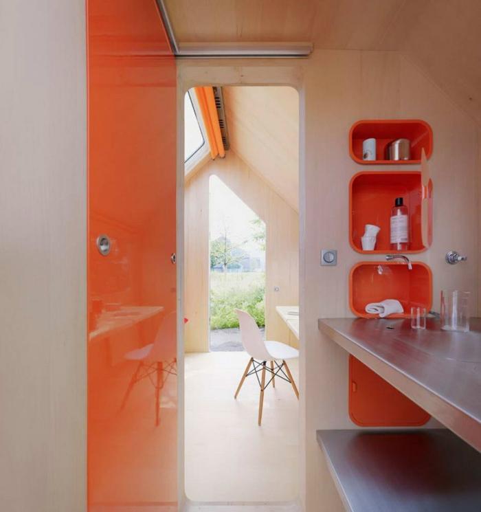 minimalismus architektur badezimmer eingebaute fächer
