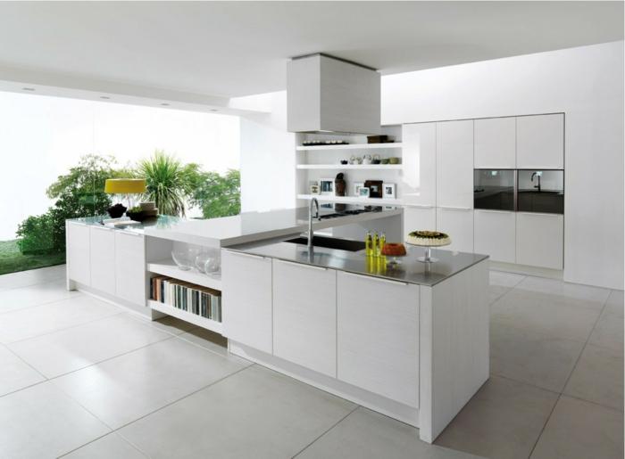 modern einrichten weiße bodenfliesen kücheninsel