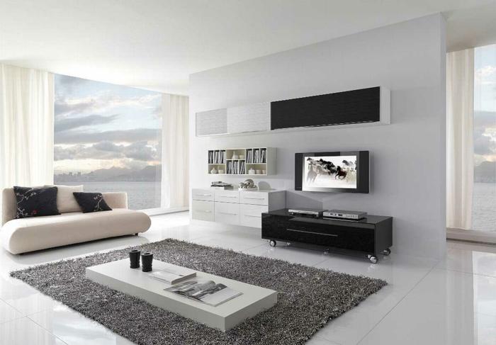 Modern Einrichten Wohnzimmer Panoramafenster Teppich