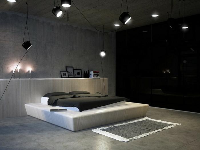 coole wohnzimmertische:Schlafzimmer Einrichtung Modern: Schlafzimmereinrichtung schwarz weiss