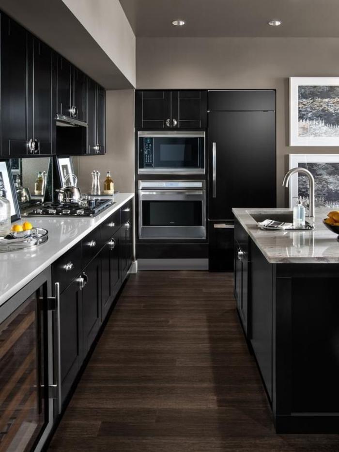 moderne küchen dunkles interieur einbauleuchten
