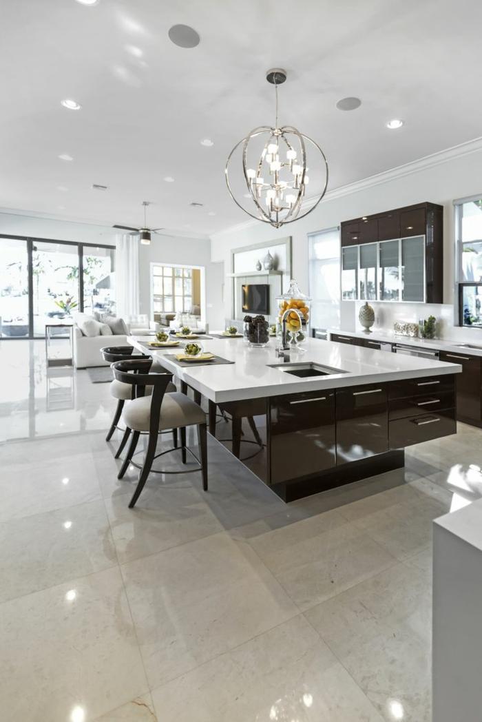 moderne küchen massive kücheninsel einbauleuchten