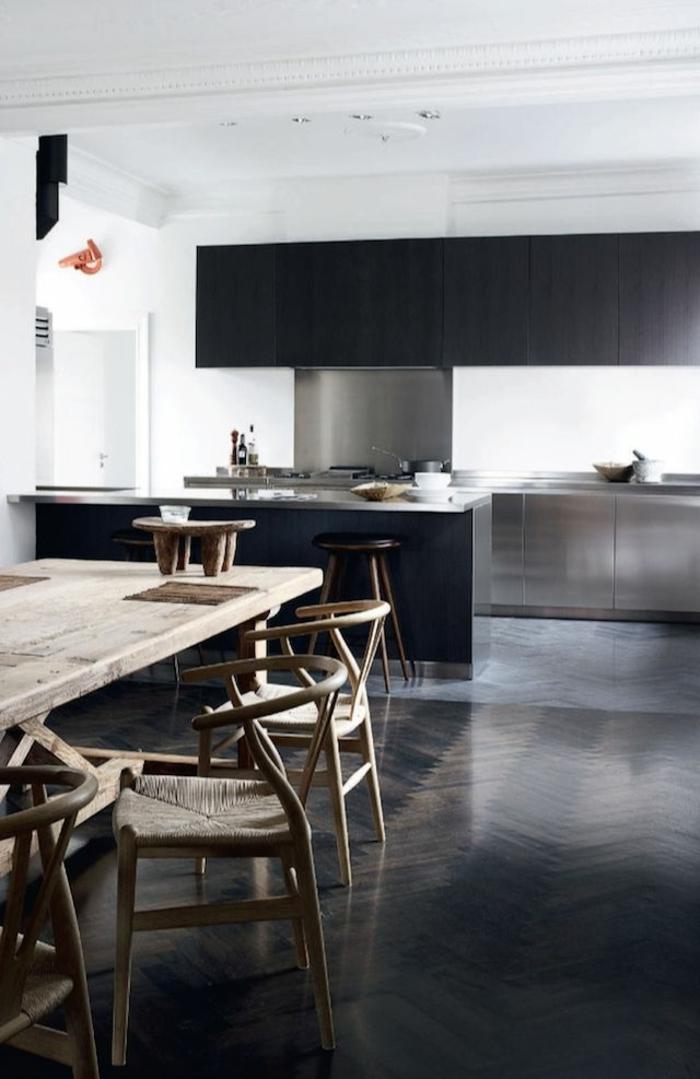 moderne küchen minimalistisch rustikaler esstisch