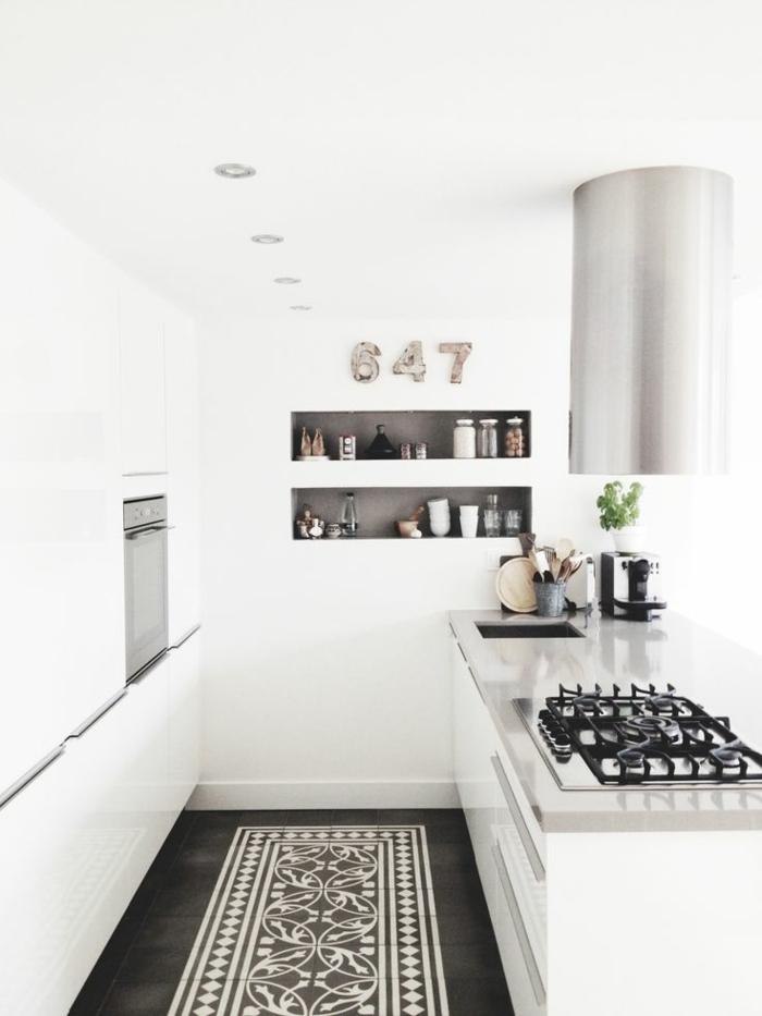 moderne küchen weiße wandfarbe tolle eingebaute regale