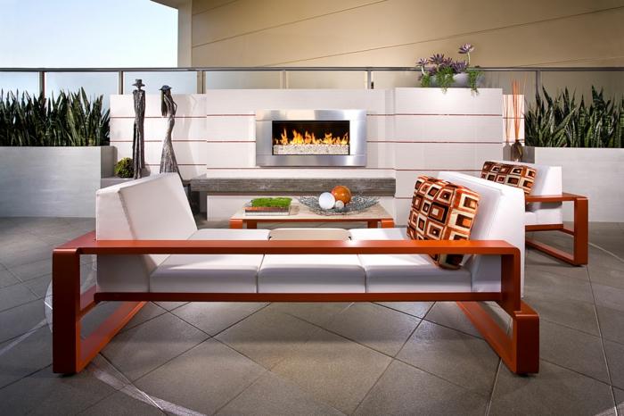 Moderne Terrassengestaltung Schicke Außenmöbel Bodenfliesen