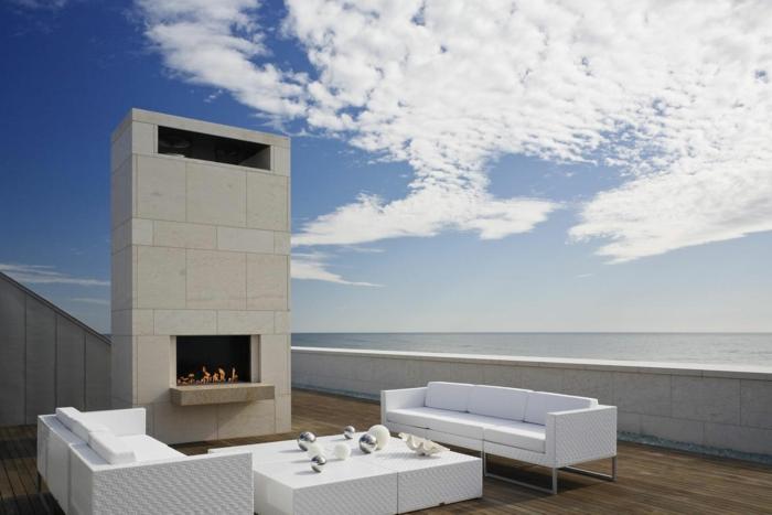 Moderne Terrassengestaltung Weiße Elegante Außenmöbel