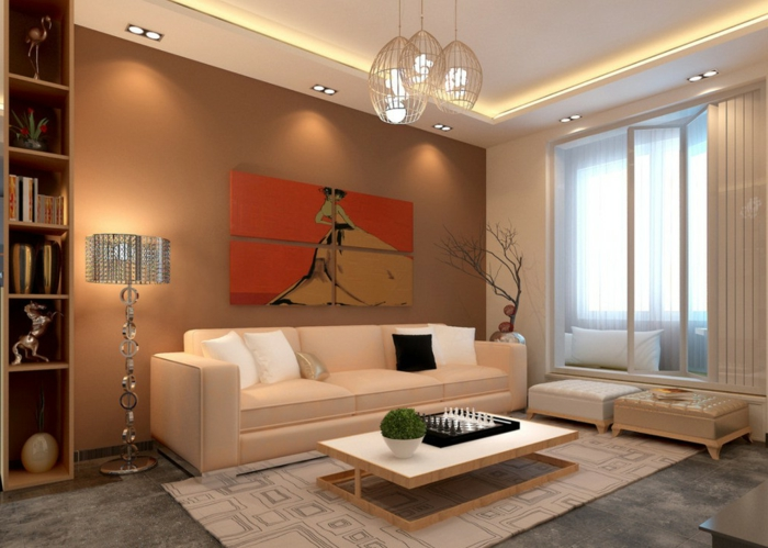 moderne wohnzimemrmöbel cooler couchtisch teppich offene regale