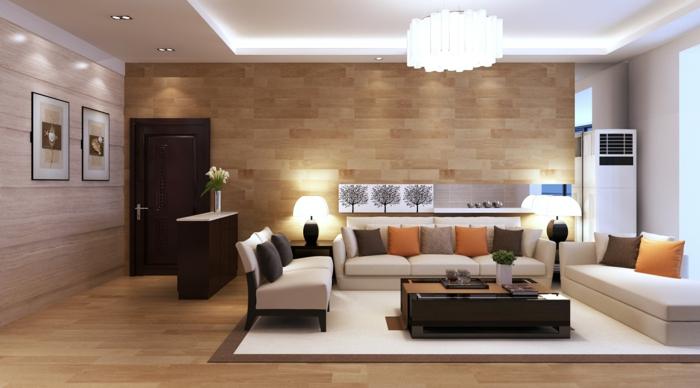 moderne wohnzimemrmöbel elegant schöne wandgestaltung viele dekokissen