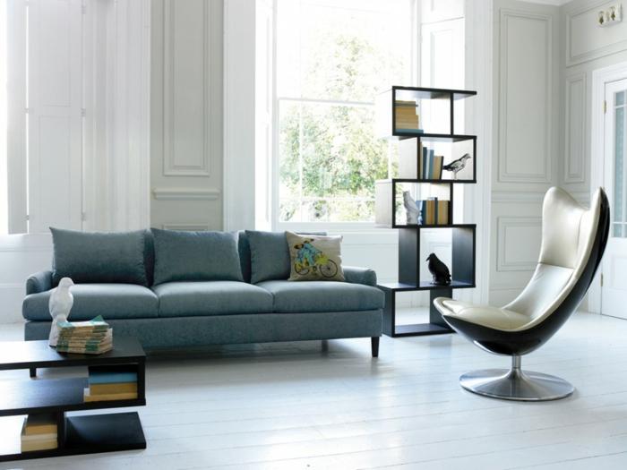 moderne wohnzimmermöbel cooler sessel offene regale