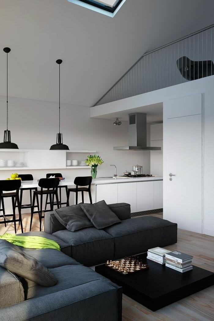 moderne wohnzimmermöbel graues wohnzimmersofa cooler schwarzer couchtisch