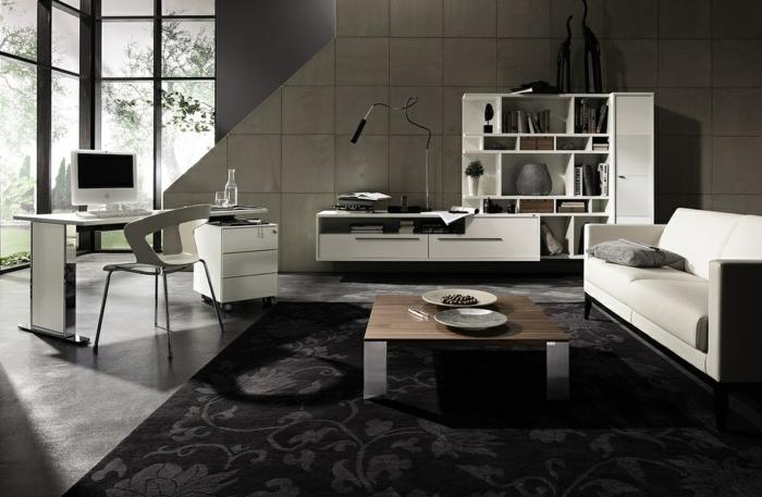 moderne wohnzimmermöbel helles design dunkelgrauer floraler teppich