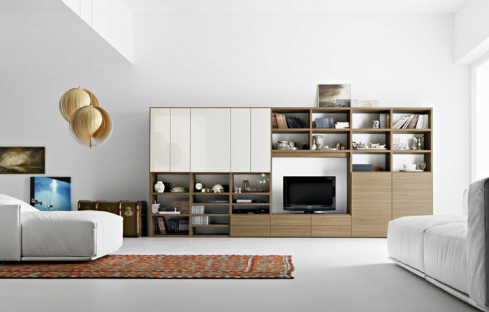 moderne wohnzimmermöbel weiß wohnwand pendelleuchten