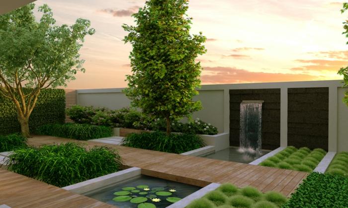moderner garten wasserfall grün eleganter gartenzaun