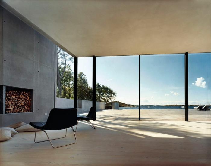 modernes haus bauen schiebetüren raumhohe fenster minimalistisch