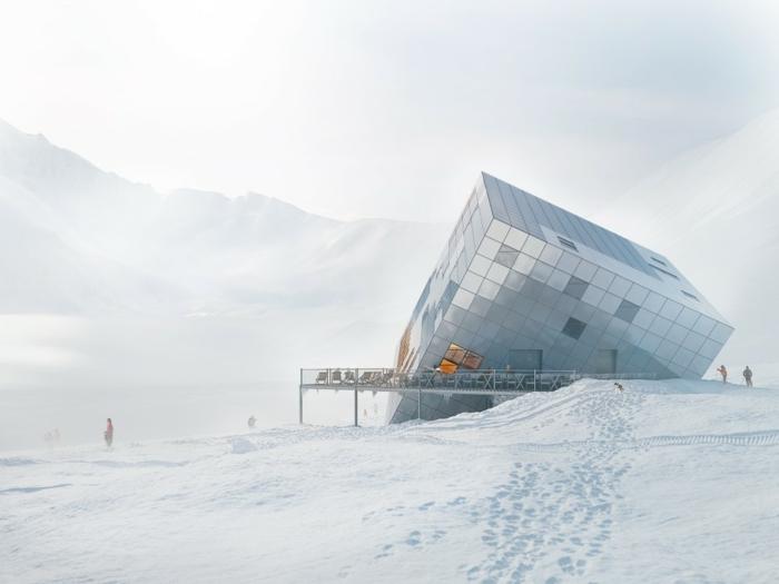 nullenergiehaus qubistisch hotel schnee bergen