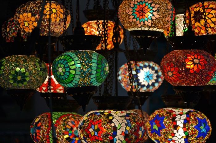 orientalische lampen hängende leuchten glas mosaik