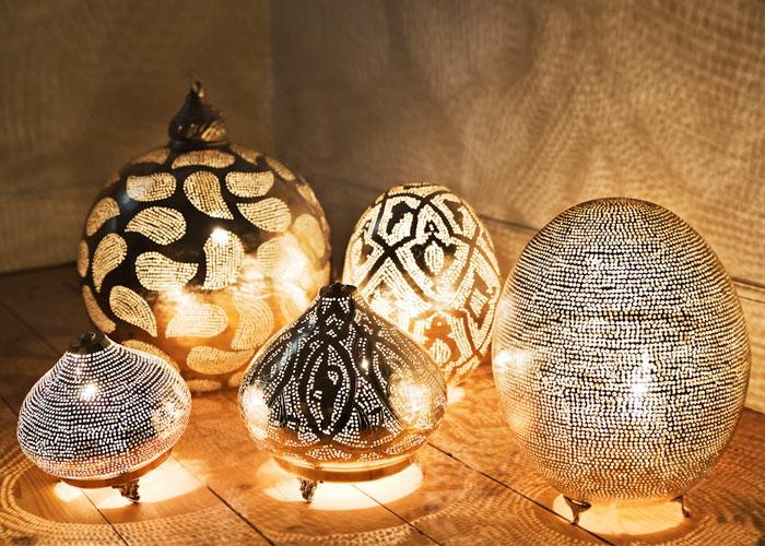 orientalische lampen runde leuchten nachttischlampen