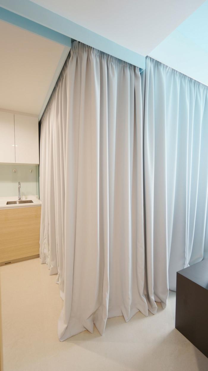 raumtrenner vorhang wohnbereich gestalten gardinen statt wände