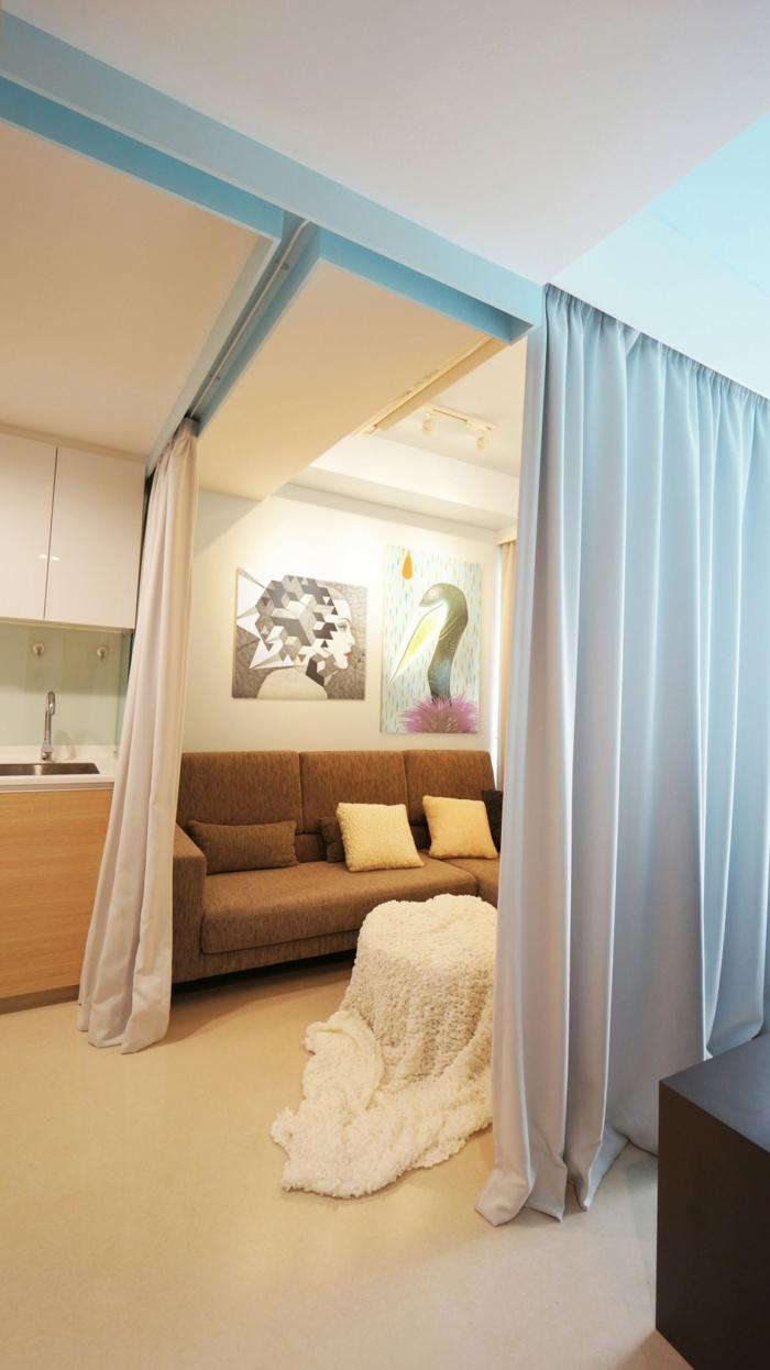 raumtrenner vorhang wohnzimmer gästezimmer gardinen