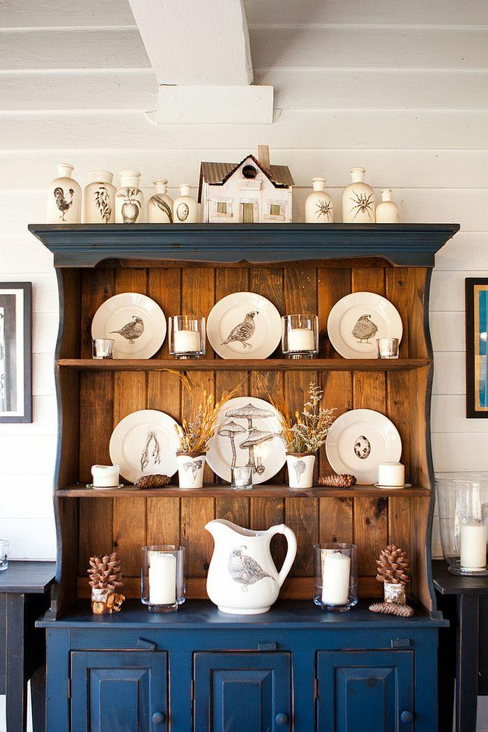 holzmöbel esszimmer gestalten küchenanrichte retro blau