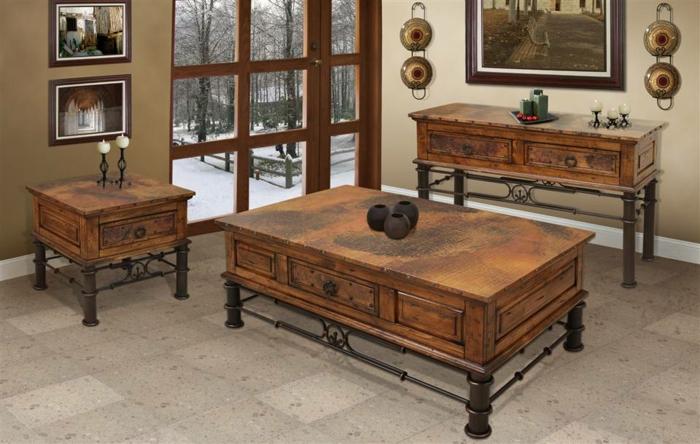 Rustikale M Bel Wohnzimmer Couchtisch Kommode Nachttisch Holz Metall