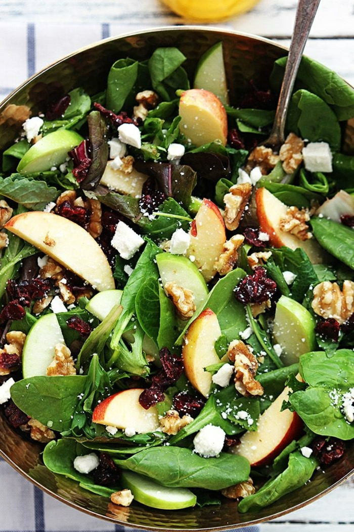salate zum abnehmen salatrezepte apfel spinat