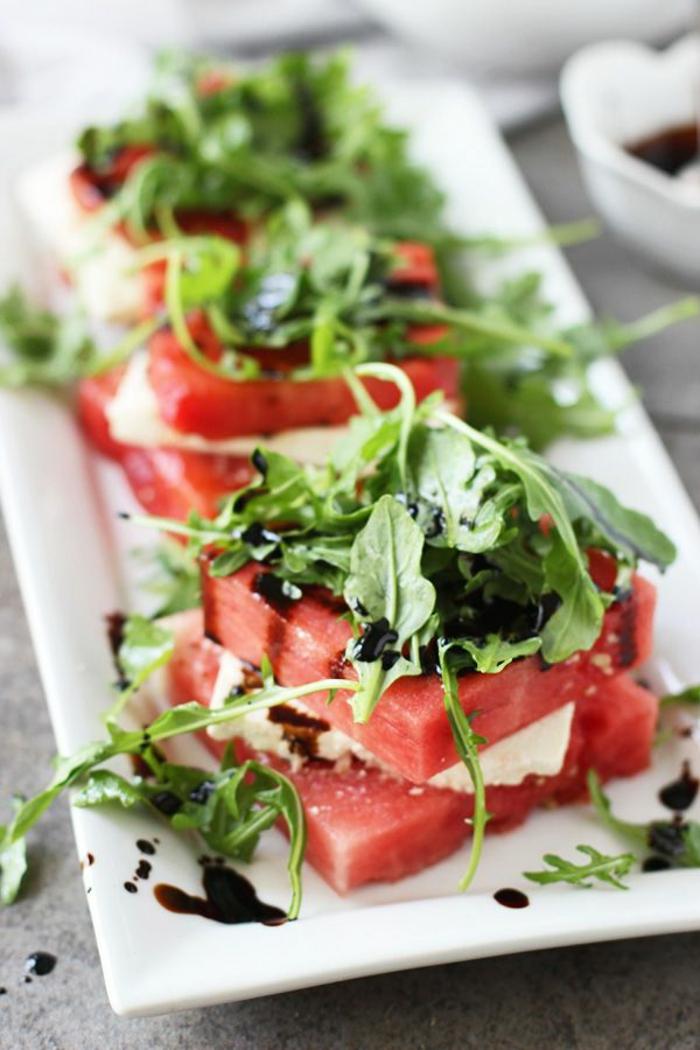 salate zum abnehmen salatrezepte feta käse und wassermelone