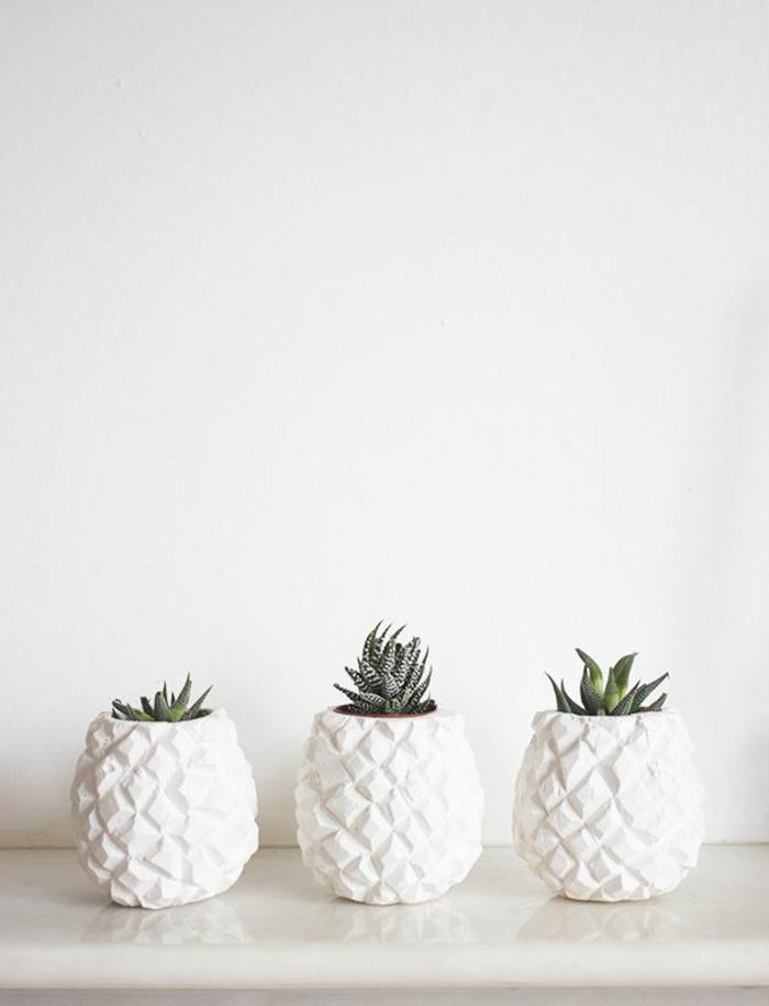 schöne dekoideen ananas pflanzen weiße blumentöpfe