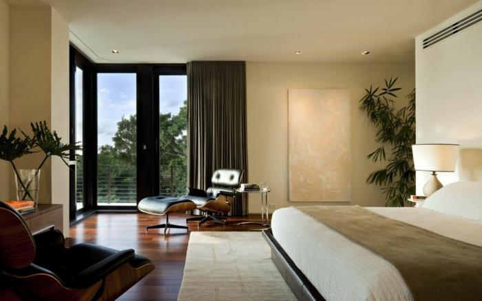 schlafzimmer einrichten dekoideen pflanzen bequemer sessel
