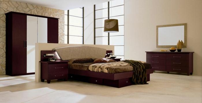 schlafzimmer einrichten elegante braune möbel tolle wandgestaltung