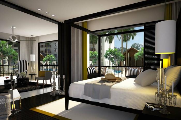 schlafzimmer einrichten gelbe akzente einbauleuchten