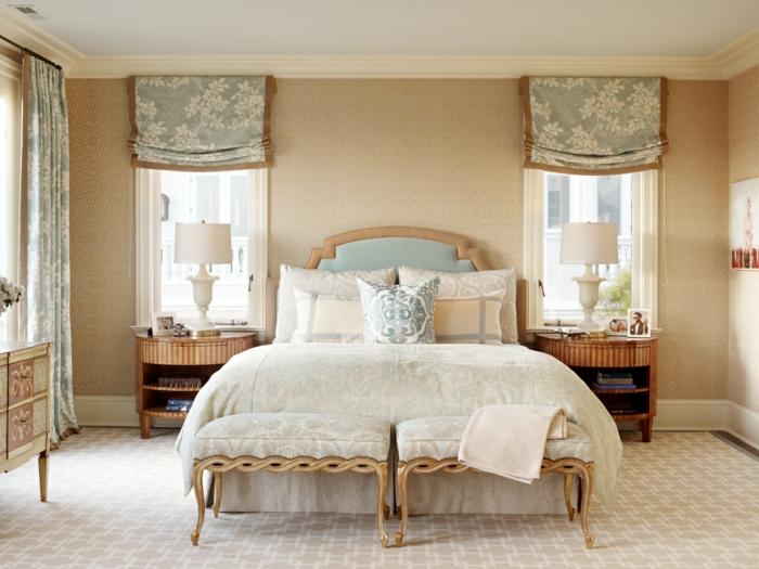 schlafzimmer einrichten schlafzimmerbänke raffrollos