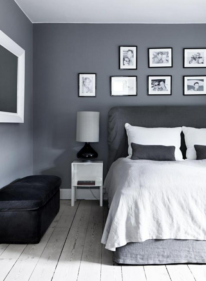 schlafzimmer einrichten weiß schwarz grau holzboden