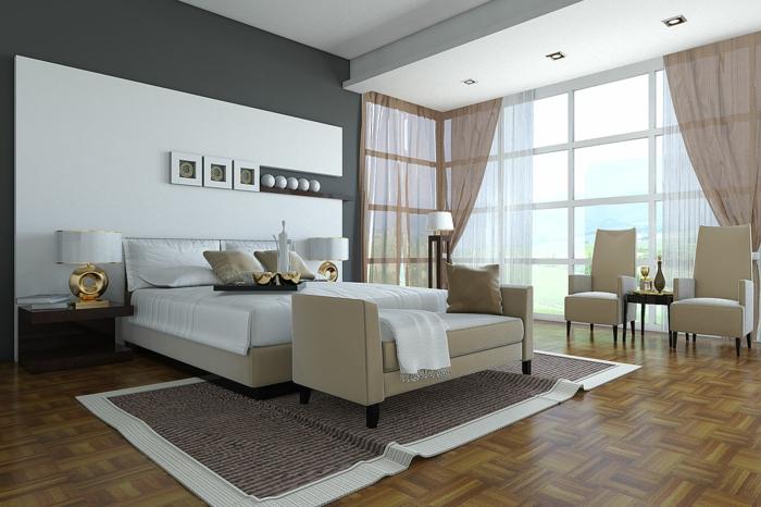 schlafzimmermöbel elegant beige teppich sessel gardinen