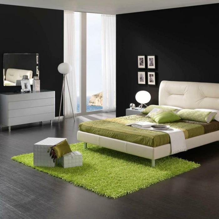 schlafzimmermöbel grüner teppich graue bodenfliesen kommode