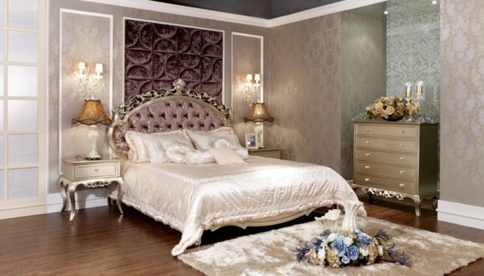 schlafzimmermöbel luxuriös schöne deko blumen