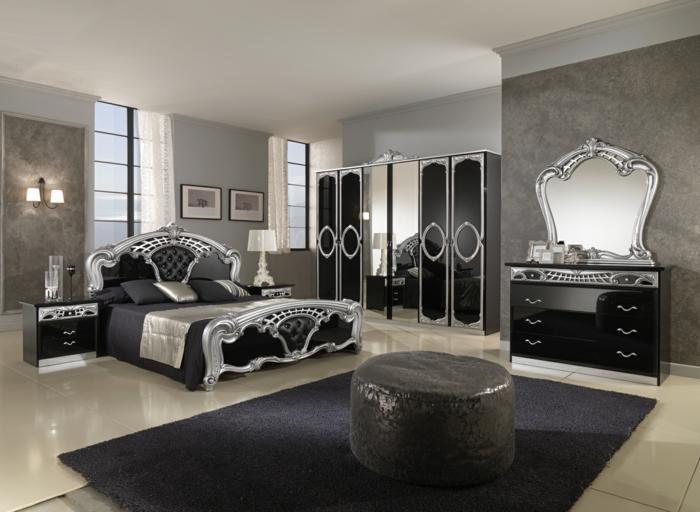 schlafzimmer einrichten mönnliche ausstrahlung schwarzer teppich