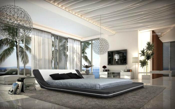 schlafzimmermöbel stilvoll coole leuchter pflanzen